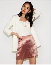 Express - High Waisted Satin A-line Mini Skirt - Lyst