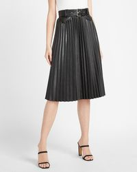 Express High Waisted Faux Leather Belted Pleated Midi Skirt Pitch Black