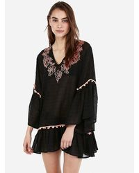 Express Floral Embroidered Pom Tunic Swim Cover-up Black