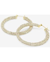 Express Luv Aj The Pave Amalfi Hoop Earrings Shiny Gold - Metallic