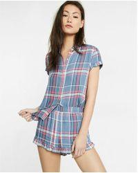 Express - Plaid Ruffle Pyjama Shorts - Lyst