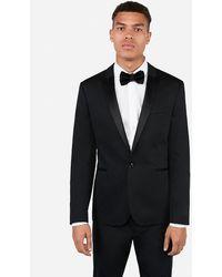 Express Extra Slim Black Satin Peak Lapel Cotton Tuxedo Jacket Black 36 Short