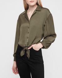 Express Satin Tie Front Cropped Shirt Green Xl