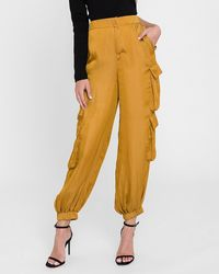 Express English Factory High Waisted Balloon Cargo Trousers Yellow M