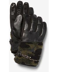 Express Camo Sherpa Genuine Leather Touchscreen Compatible Gloves Camo - Multicolour