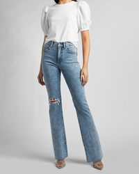 Express High Waisted Ripped Raw Hem Bootcut Jeans - Blue