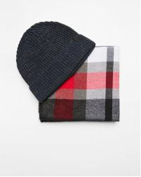 Express - And Gray Plaid Scarf And Beanie Set - Lyst