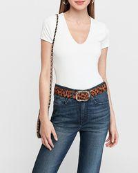 Express V-neck Short Sleeve Thong Bodysuit White