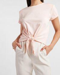 Express - Crop Tie Front Top Pink L - Lyst