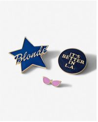 Express Set Of Three Blonde Star And Sunglasses Pins - Metallic
