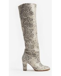 Express Faux Leather Heeled Stovepipe Boots Neutral Print 5 - Multicolour