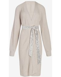 Express Sequin Belted Duster Cardigan Grey Xs