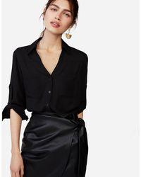 Express Slim Fit Convertible Sleeve Portofino Shirt Black