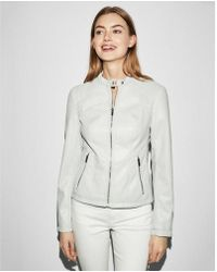 Express - Double Peplum Faux Leather Jacket - Lyst