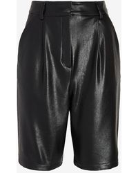 Express High Waisted Faux Leather Bermuda Shorts Pitch Black