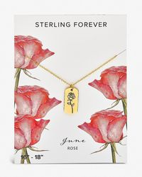 Express Sterling Forever June 'rose' Birth Flower Necklace Gold - Metallic
