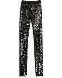 Express High Waisted Sequin Leggings Pitch Black