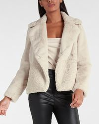 Express Faux Fur Moto Jacket Moonstruck - Natural