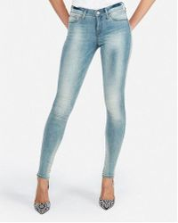 Express Mid Rise Faded Jeggings, - Blue