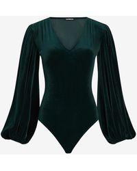 Express Velvet Balloon Sleeve Thong Bodysuit Green S