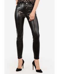 Express High Waisted Vegan Leather Ankle Leggings Black
