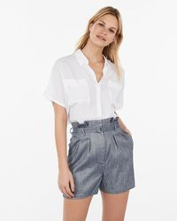 Express Super High Waisted Linen-blend Pleated Paperbag Shorts Blue 8