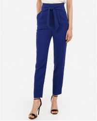 Express - Super High Waisted Tie Front Ankle Pant Blue - Lyst