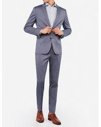 Express Extra Slim Blue Cotton Texture Stretch Suit Jacket Blue 38 Long