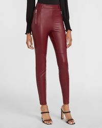 Express High Waisted Faux Leather Zip Front Leggings Red Xs
