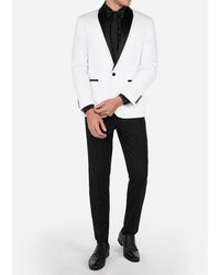Express Slim White & Black Satin Shawl Collar Tuxedo Jacket White