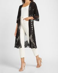 Express Collection 18 Lace Kimono Cover-up Black