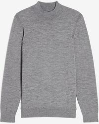 Express Merino Wool-blend Mock Neck Sweater - Gray