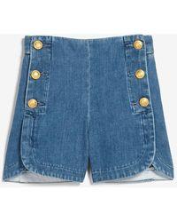 Express High Waisted Sailor Button Jean Shorts - Blue