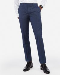 Express Extra Slim Stripe Wrinkle-resistant Stretch Dress Trousers Blue W28 L30