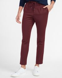 Express Extra Slim Textured Burgundy Suit Pants Red Xs