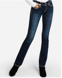 Express Low Rise Thick Stitch Barely Boot Jeans, - Blue