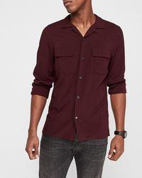Express Slim Button-up Rayon Shirt Red Xs