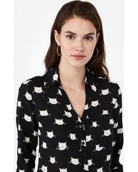 Express Slim Fit Cat Print Portofino Shirt Black Print