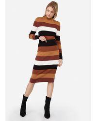 Express Negin Mirsalehi High Waisted Striped Jumper Pencil Skirt Pink