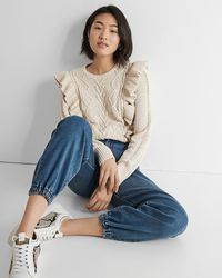 Express Ruffle Cable Knit Jumper Oatmeal Heather - Blue