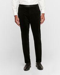 Express Slim Black Velvet Tuxedo Trousers Black