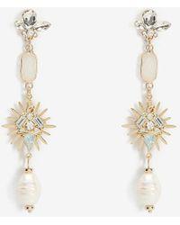 Express Rhinestone & Pearl Burst Drop Earrings Pearl - Metallic