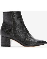 Express Snakeskin Textured Block Heel Booties Pitch Black