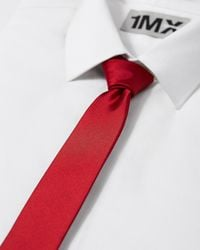 Express Solid Skinny Silk Tie - Red