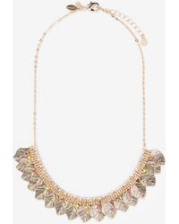 Express - Rhinestone Beaded Leaf Statement Necklace - Lyst