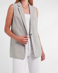 Express Sleeveless One Button Cropped Business Blazer Grey