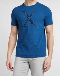 Express Blue Bandana Logo Graphic T-shirt Blue Xs