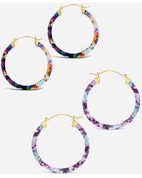Express Sterling Forever Resin Hoop Earring Set Multi - Multicolour