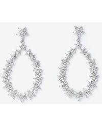 Express Cubic Zirconia Oval Drop Earrings Silver - Metallic