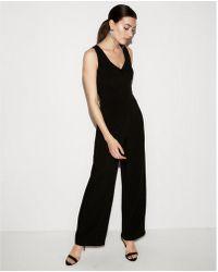 Express | Mesh V-neck Wide Leg Jumpsuit | Lyst